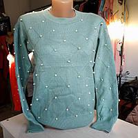 Мягкий женский свитерок с бусинками, мятный, 42-46