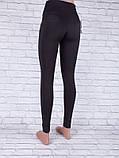 Лосины, Леггинсы женские с широким поясом чёрные, фото 2