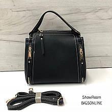 Вместительная сумка с ручкой и замками по бокам (0306) Черный