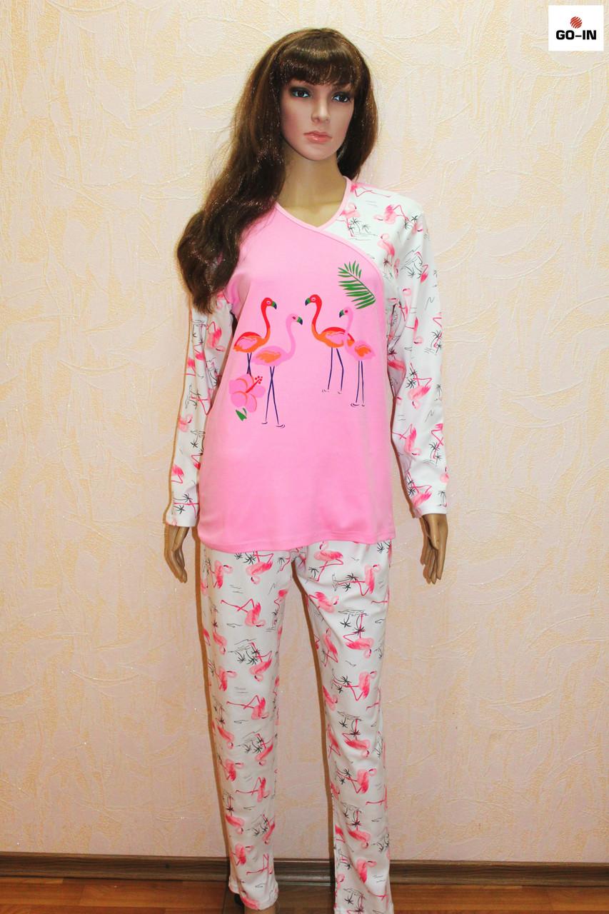 Пижама женская теплая розовая интерлок 42-56р.