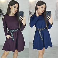 Платье женское повседневное, короткое, трапеция, свободное, с карманами, ремень в комплекте, до 52 р, фото 1