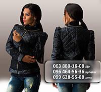 Куртка женская стеганная плащевка с кружевом на молнии черная