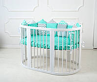 """Детская овальная кроватка трансформер 9 в 1 """"Smart Bed"""" в белом цвете"""
