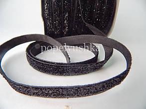 Стрічка оксамитова 1 см чорна