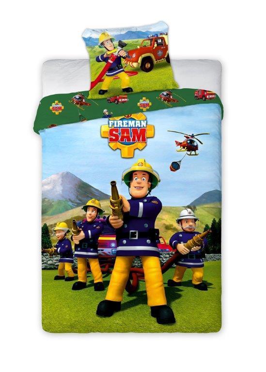 Комплект постельного белья Детский 1378 Пожарный Сэм M&M 8832 Зеленый, Желтый, Синий