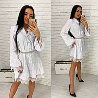 Белое свободное платье с французским кружевом
