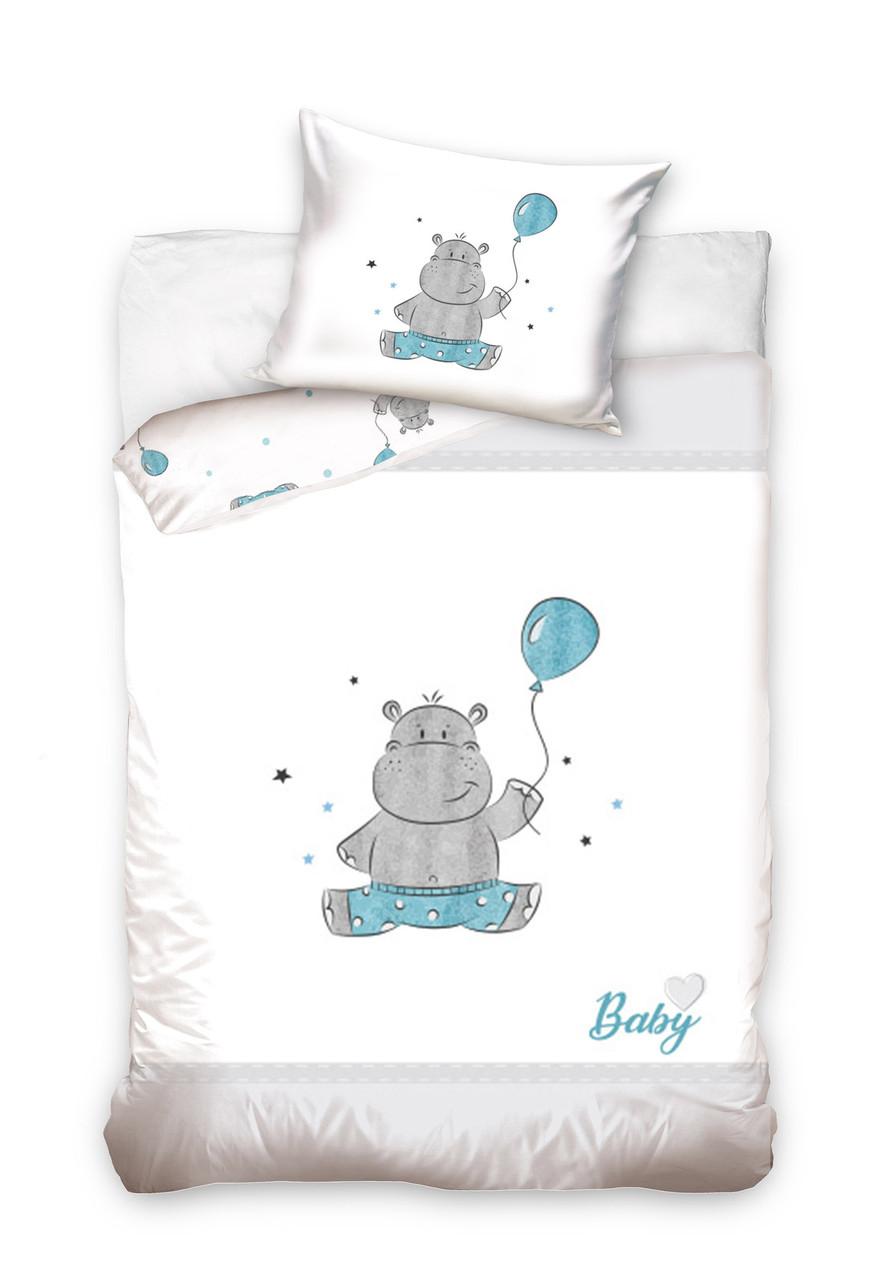 Комплект постельного белья Хлопковый Детский Baby 001 M&M 6215 Синий, Белый, Серый