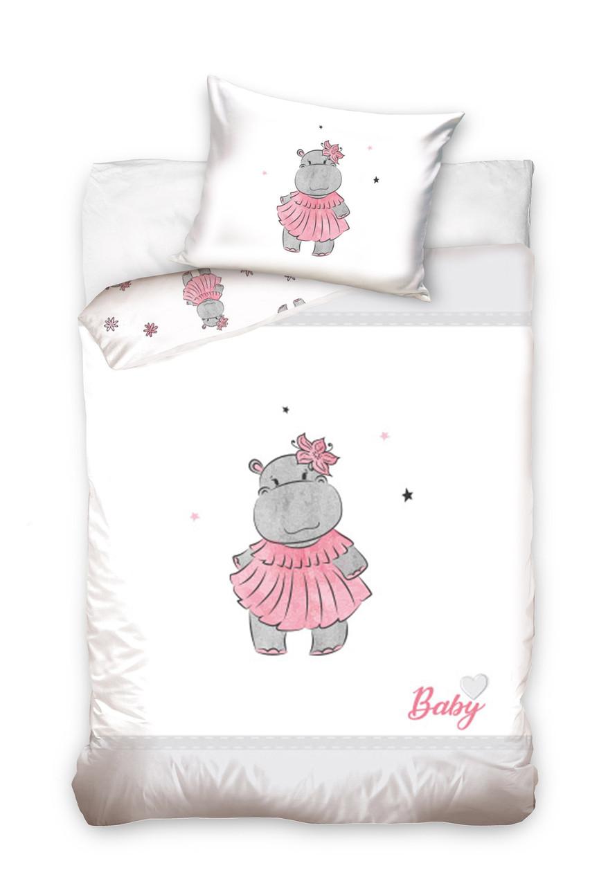Комплект постельного белья Хлопковый Детский Baby 002 M&M 6222 Белый, Розовый, Серый