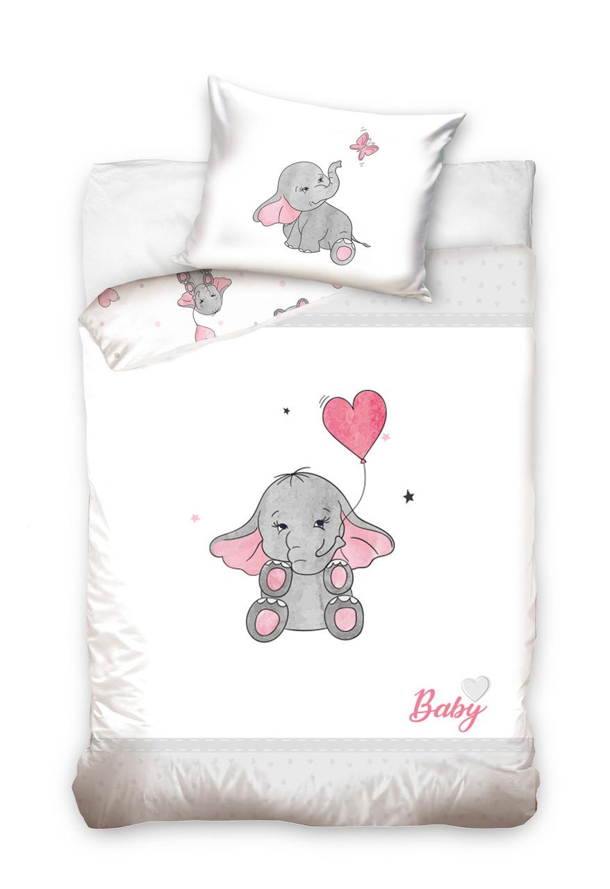 Комплект постельного белья Хлопковый Детский Baby 003 M&M 6239 Белый, Розовый, Серый