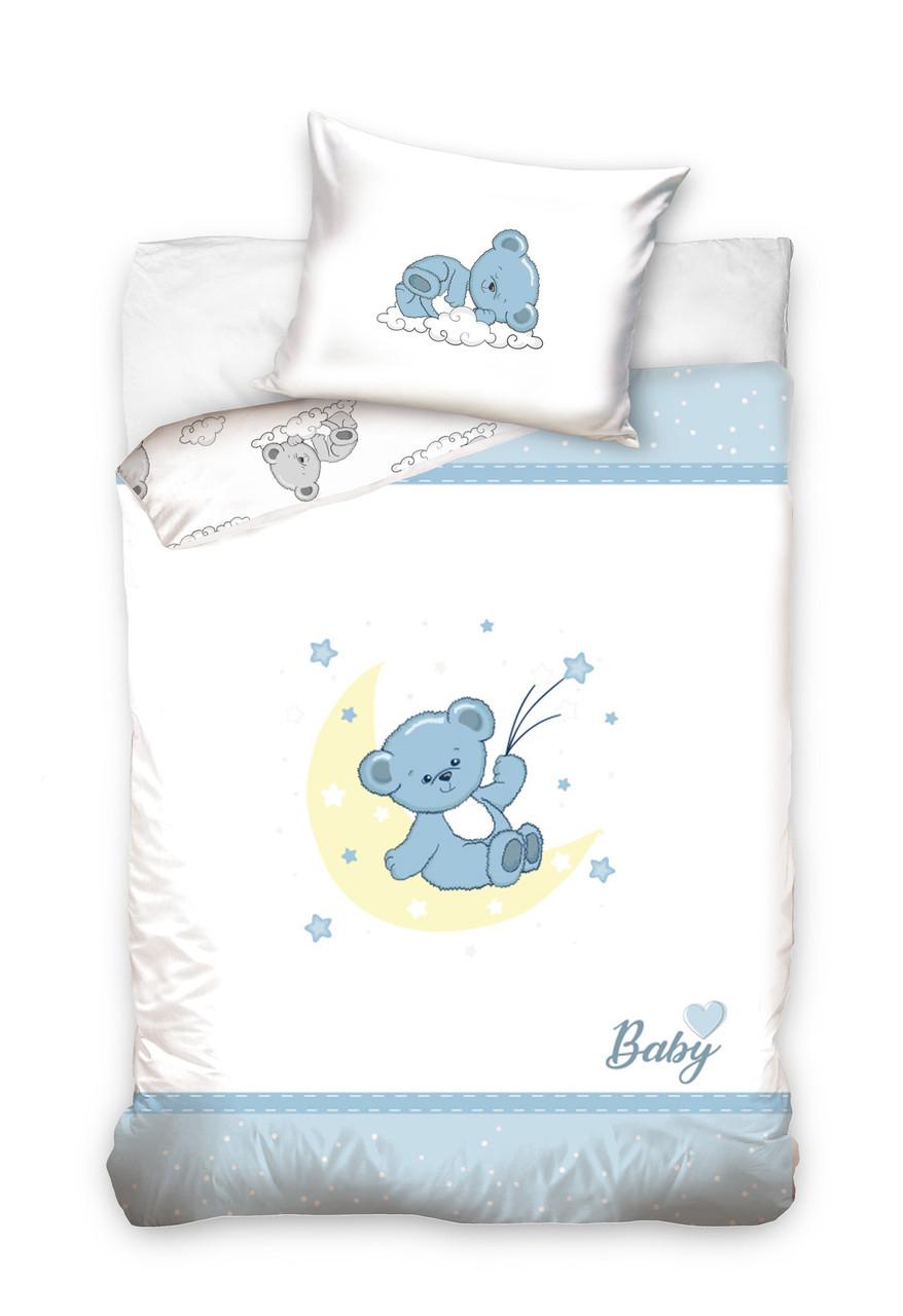 Комплект постельного белья Хлопковый Детский Baby 005 M&M 6253 Синий, Белый