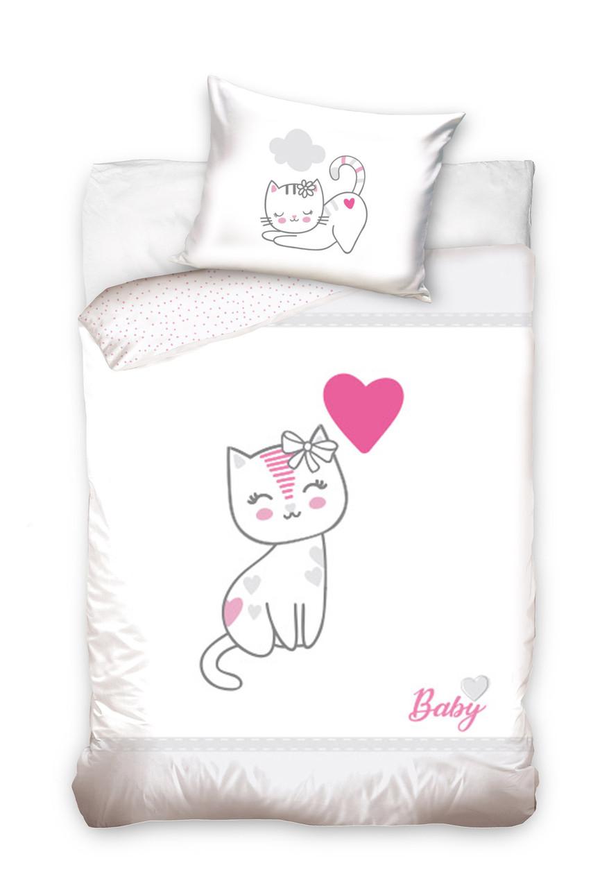 Комплект постельного белья Хлопковый Детский Baby 010 M&M 6208 Белый, Розовый, Серый