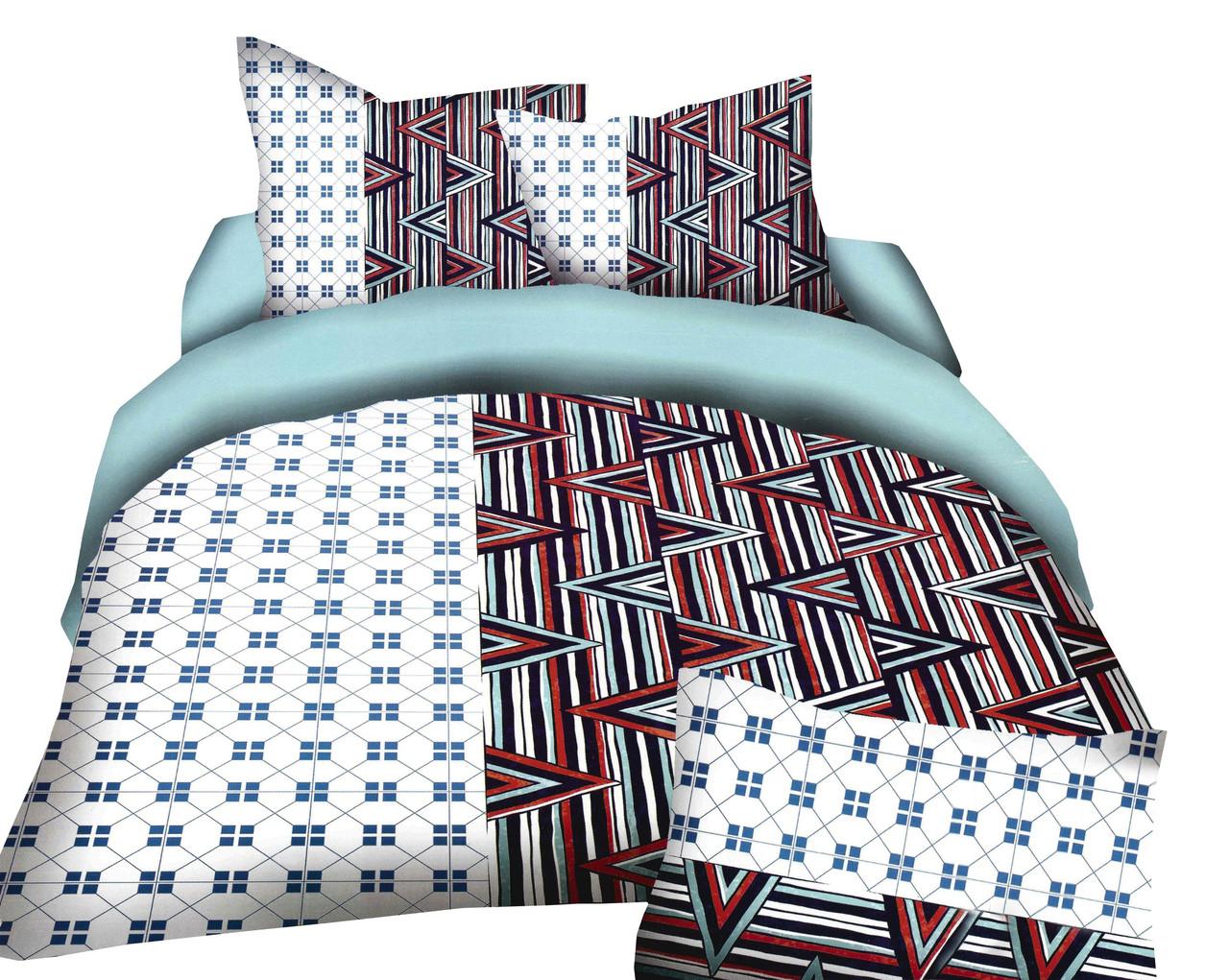 Комплект постельного белья Микроволокно HXDD-400 С геометричным узором M&M 2424 Белый, Коричневый, Синий