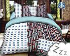 Комплект постельного белья Микроволокно HXDD-400 С геометричным узором M&M 2424 Белый, Коричневый, Синий, фото 2