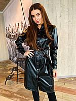 Платье черное из эко кожи К 00555 с 01