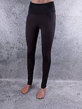 Лосины, Леггинсы женские на флисе с широким поясом чёрные