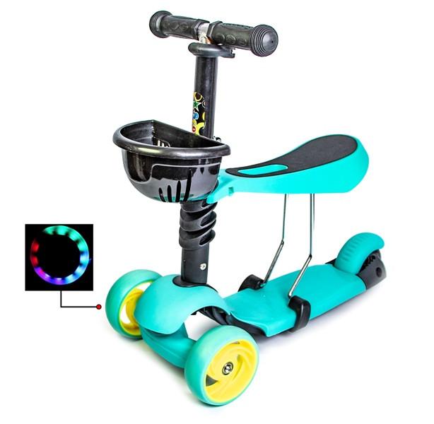 Самокат Scooter Smart 3in1. Бирюзовый цвет. (Смарт-колеса!)