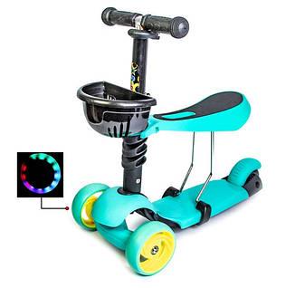 Самокат Scooter Smart 3in1. Бирюзовый цвет. (Смарт-колеса!), фото 2
