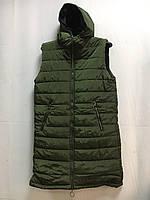 Женская жилетка батал удлиненная с капюшоном