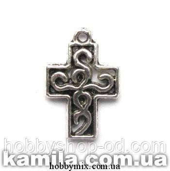 """Метал. подвеска """"крест"""" серебро (1,3х1,8 см) 10 шт в уп."""