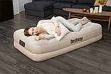 67694 Надувная кровать Tritech Airbed 191х97х42см с подголовником, встроенный электронасос, фото 3