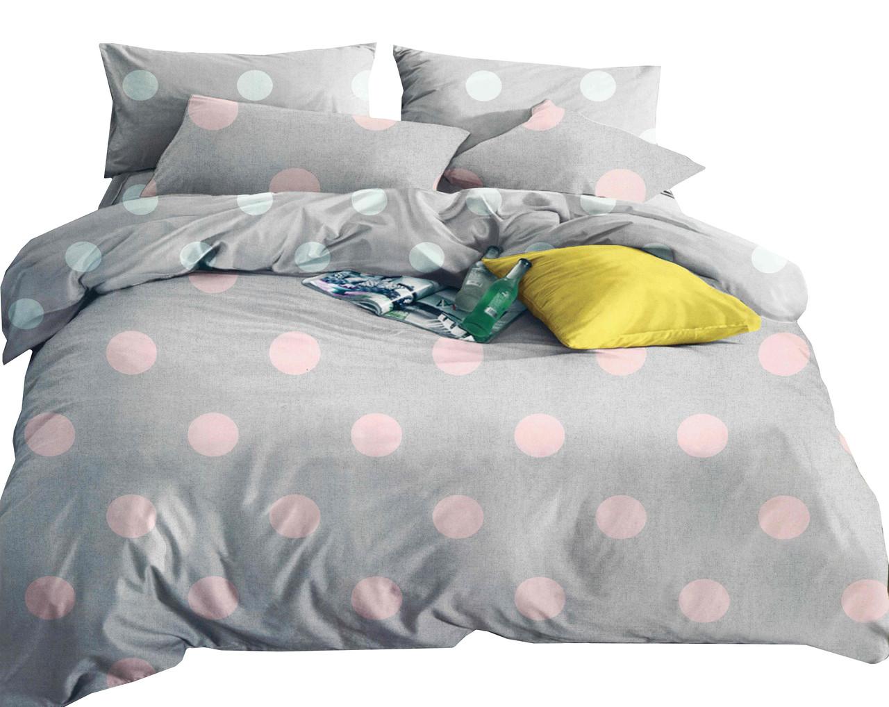 Комплект постельного белья Микроволокно HXDD-509 В горошек M&M 6586 Розовый, Серый