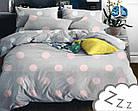 Комплект постельного белья Микроволокно HXDD-509 В горошек M&M 6586 Розовый, Серый, фото 2