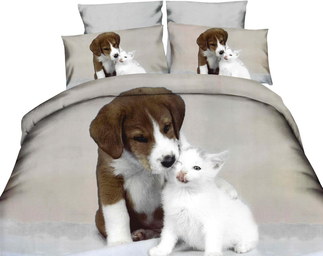 Комплект постельного белья Микроволокно HXDD-585 M&M 9157 Коричневый, Серый