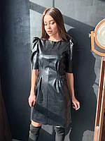 Платье черное эко кожа К 00554 с 01