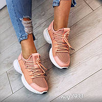 Женские легкие текстильные кроссовки персиковые, фото 1