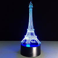 """3D Светильник """"Эйфелева башня"""", 1 светильник- 16 цветов света. Оригинальные подарки на 8 марта"""