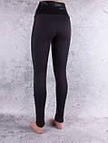 Лосини, Легінси жіночі на хутрі з широким поясом, лампасами і вставками з екошкіри чорні, фото 2