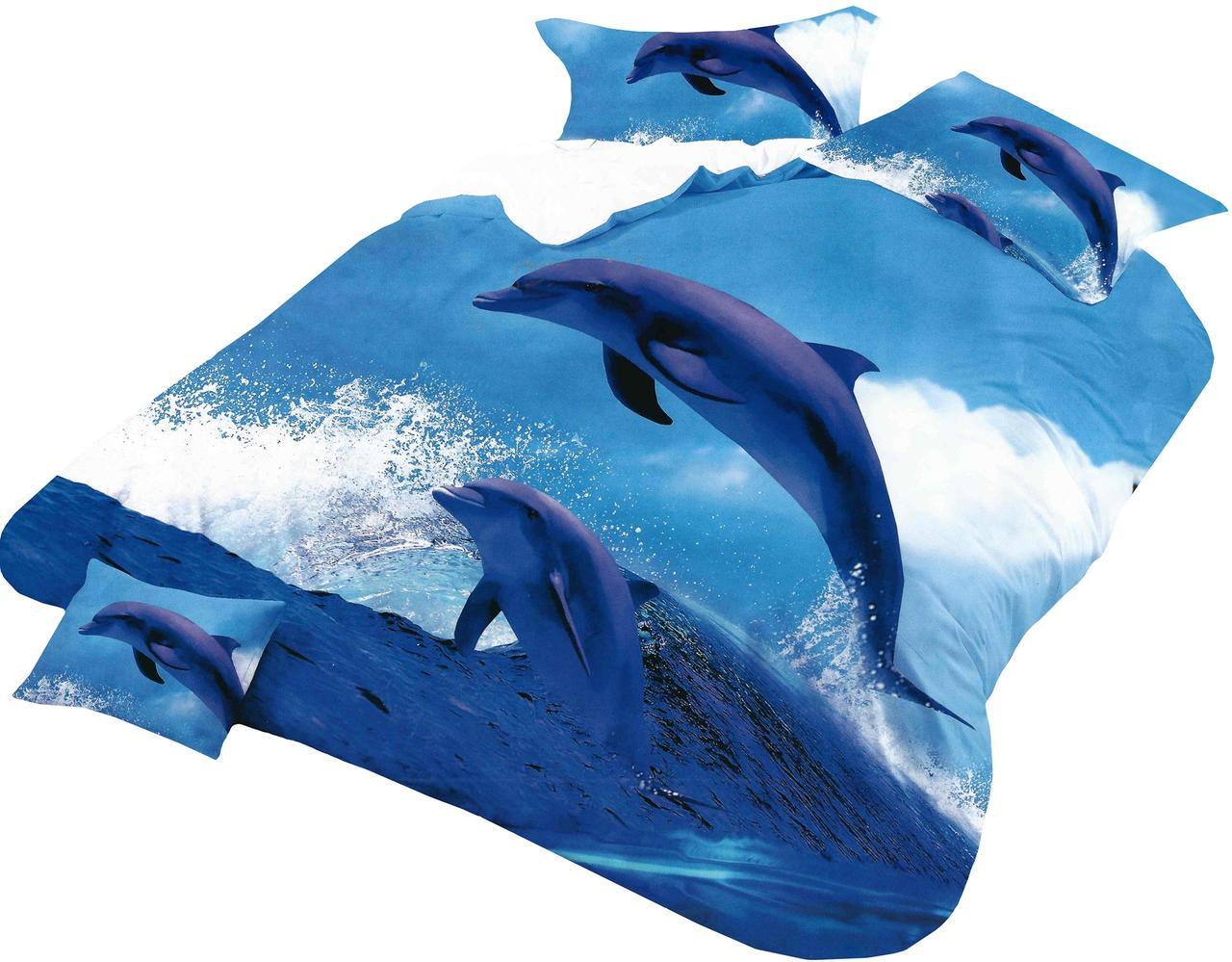 Комплект постельного белья Микроволокно HXDD-371 Дельфины M&M 4779 Синий