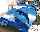 Комплект постельного белья Микроволокно HXDD-371 Дельфины M&M 4779 Синий, фото 2