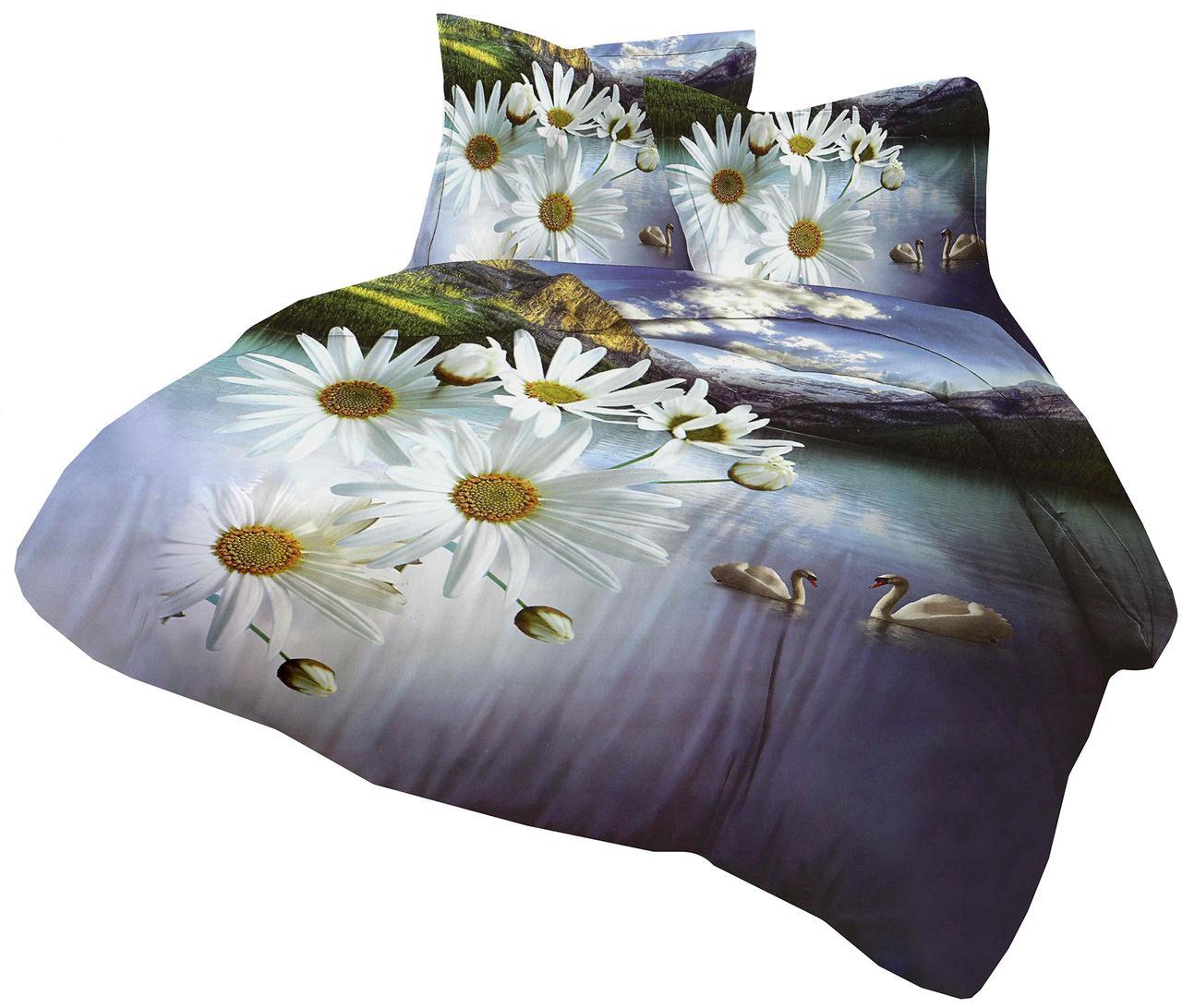 Комплект постельного белья Микроволокно HXDD-595 С цветочным узором M&M 4861 Белый, Синий