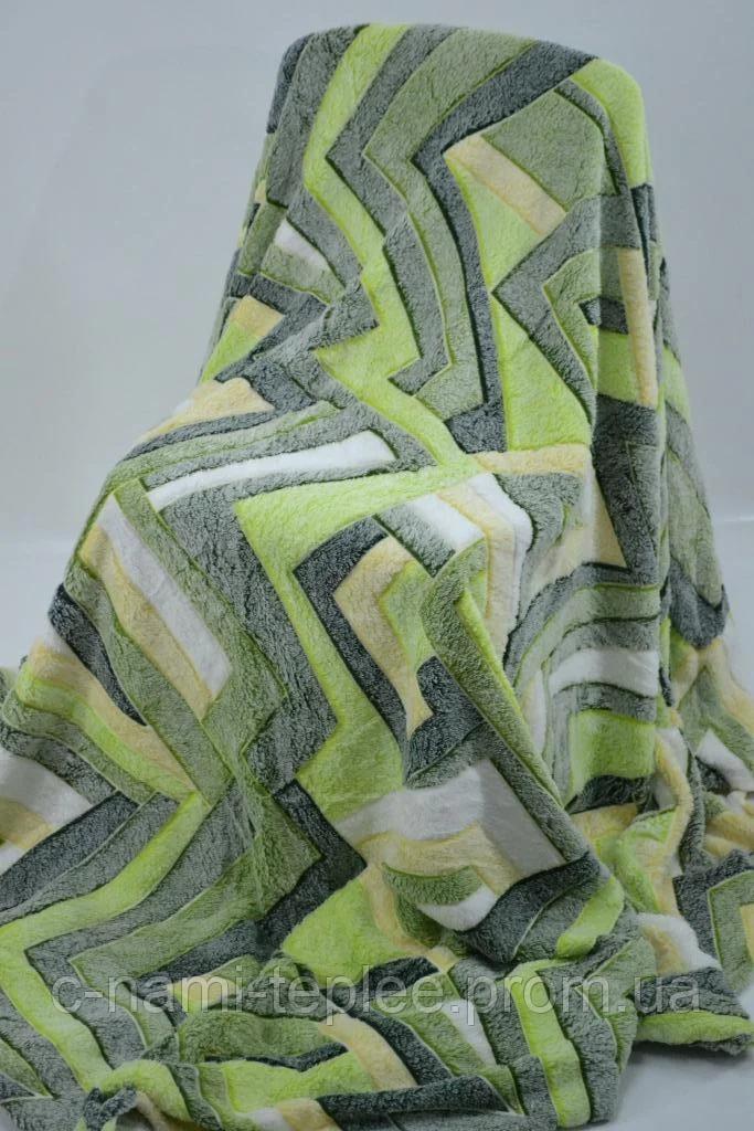 Плед микрофибра рифленый 150х200 см Зеленый