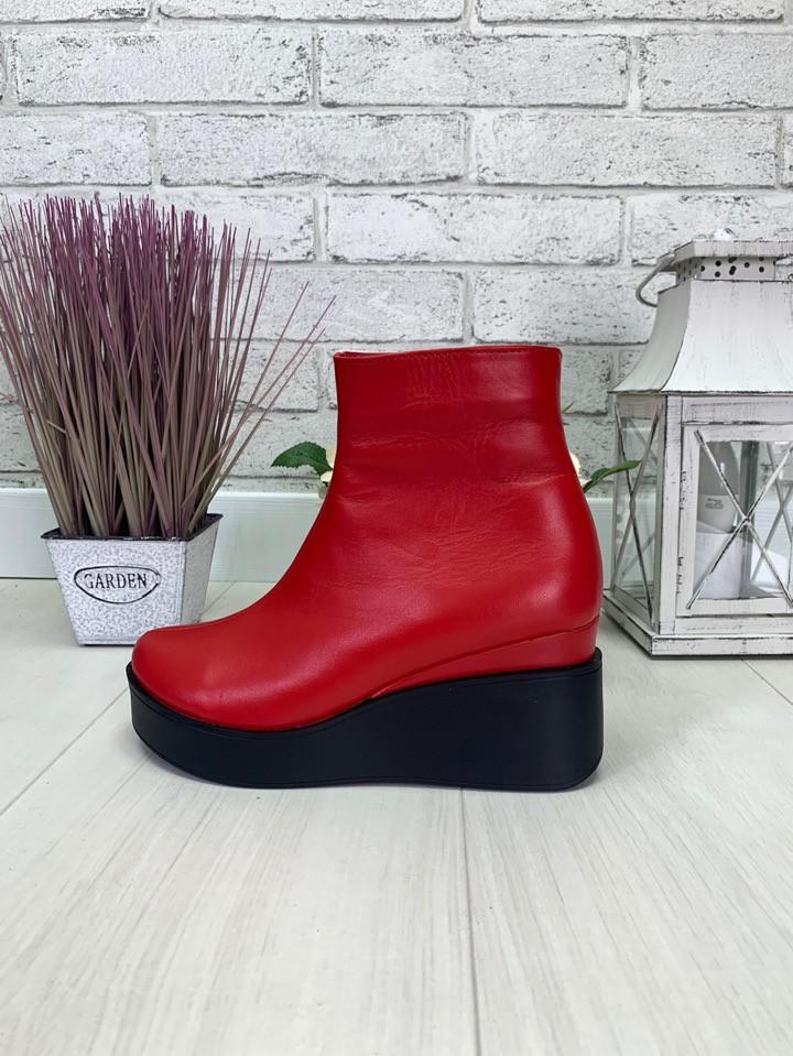 36 р. Ботинки женские деми красные кожаные, демисезонные, из натуральной кожи,натуральная кожа