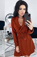 Платье женское демисезонное повседневно-делового стиля костюмка 42-48 р., цвет терракотовый