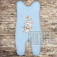 Хлопковые р 56 0-1 месяц внешние швы высокие ползунки новорожденным на кнопках лямках КУЛИР 3142 Голубой