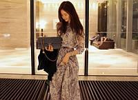 Воздушное шифоновое платье с длинным рукавом, М