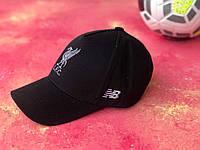 Бейсболка Ливерпуль спортивная кепка с вышитым логотипом  мужская / женская Черная