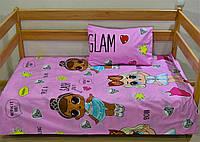 """Детское постельное бельё """"Куклы Лол на розовом"""""""