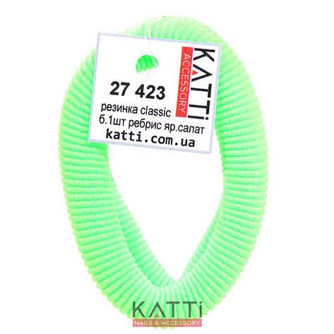 KATTi Резинка для волос 27 423 большая упругая ребристая color ярко салатовая, фото 2