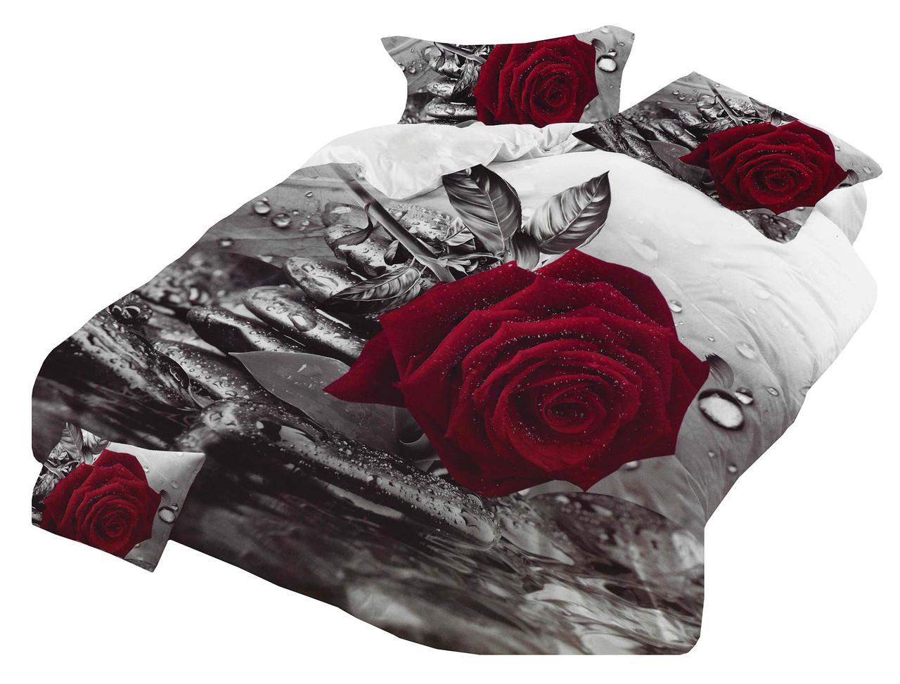Комплект постельного белья Микроволокно HXDD-598 M&M 7817 Красный, Серый