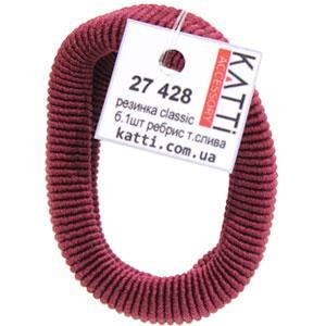 KATTi Резинка для волос 27 428 большая упругая ребристая color темная сливовая