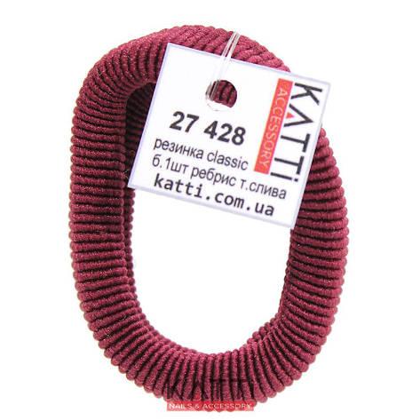 KATTi Резинка для волос 27 428 большая упругая ребристая color темная сливовая, фото 2