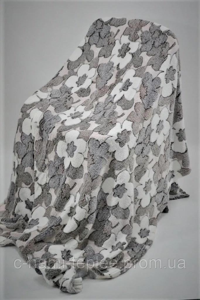 Плед микрофибра рифленый 200х230 см Цветы