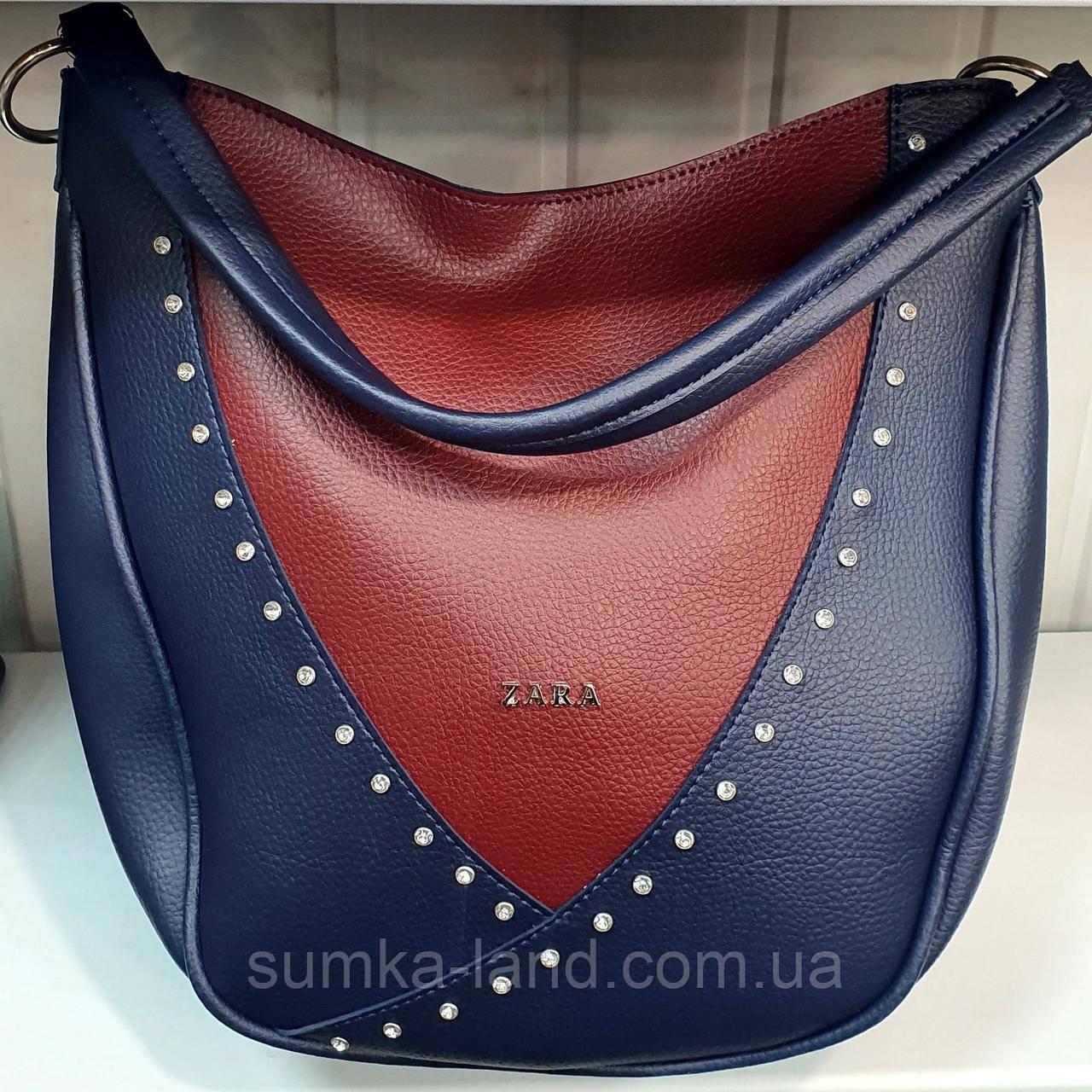 Жіноча молодіжна синя з бордовим сумка-торба на плече Zara зі шкірозамінника 28*33 см