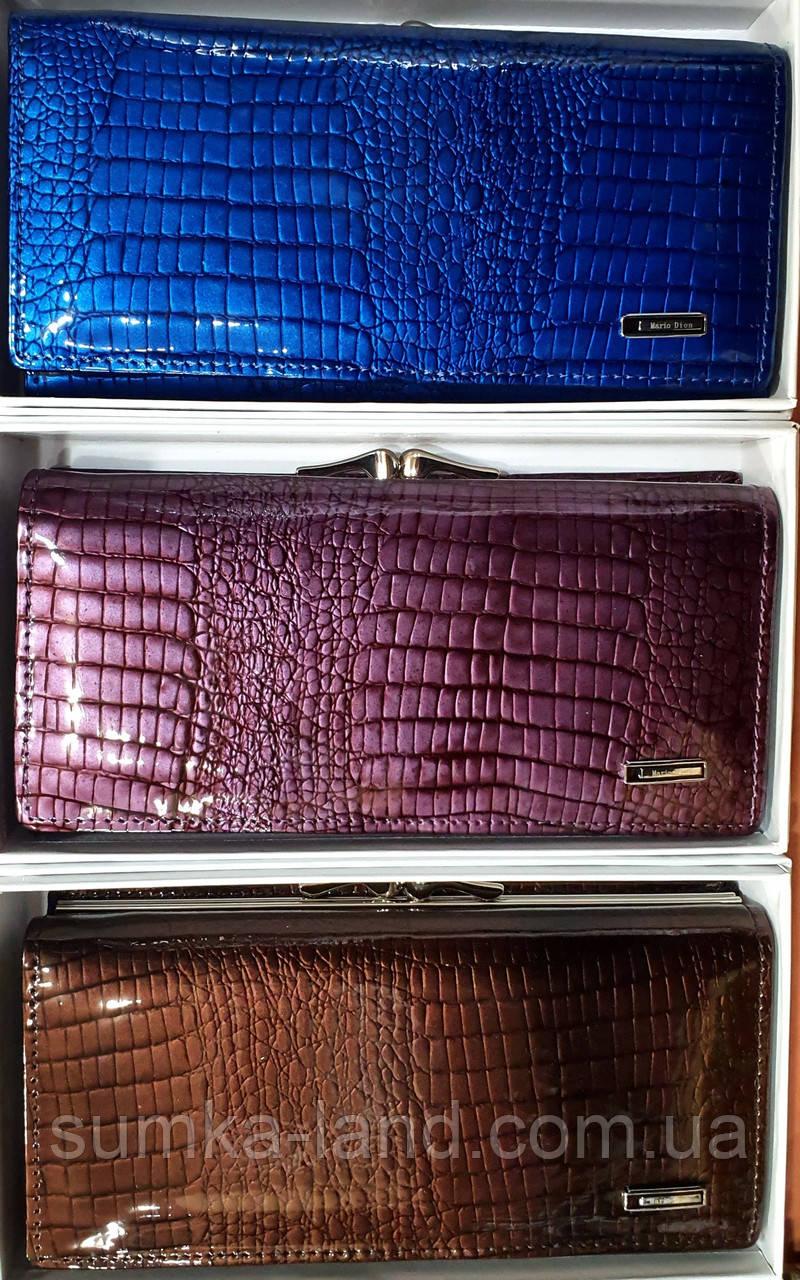 Женские кожаные лаковые кошельки Mario Dion на магните с монетницей снаружи