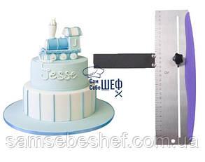 """Шпатель кондитерский регулируемый для выравнивания торта из нержавеющей стали  """"Let's Cake"""""""