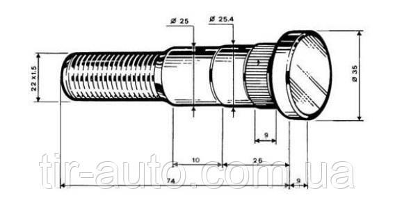 Болт колесный M22x1.5x73 Fruehauf/Trailor одинарные колеса ( ERREVI ) 729194
